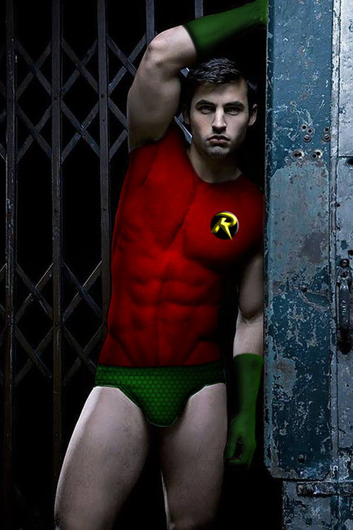 Gay superhero body paint