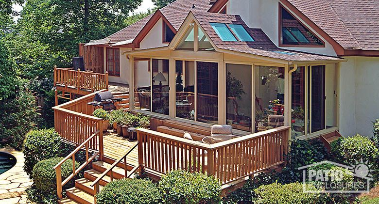 mesmerizing living room addition gable roof | Three season room in sandstone with custom gabled roof and ...