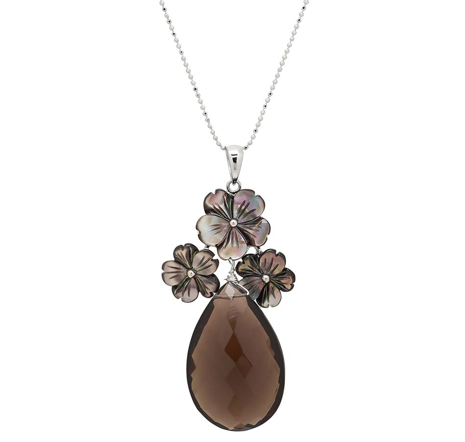Buy Mother of Pearl & Smokey Quartz Sterling Silver Pendant with Chain - Pearl Lustre - Pendants - Online Shopping for Canadians