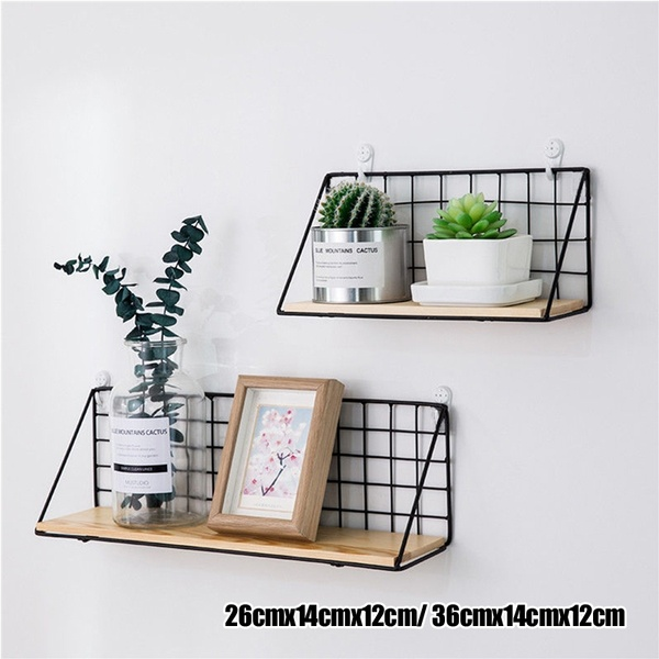 Fashion Wooden Iron Storage Holders Home Storage Shelf Wall Hanging Storage Box Flower Pots Book Storage R Kitchen Wall Shelves Wood Wall Shelf Hanging Shelves