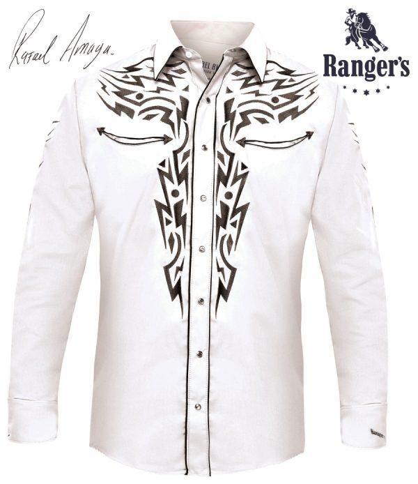 6a327528404bd Camisa Vaquera Rangers Rafael Amaya Collection Modelo RAN81 Color Blanco