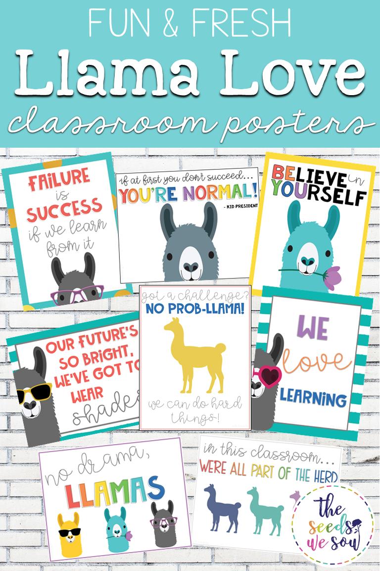 Llama Classroom Decor: Poster Set #elementaryclassroomdecor