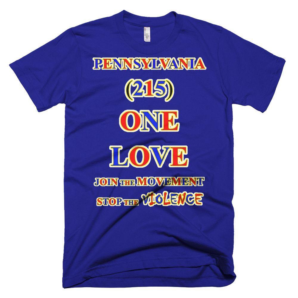 1537-T ... PENNSYLVANIA ... Area Code 215 ... ONE LOVE ... T-SHIRT