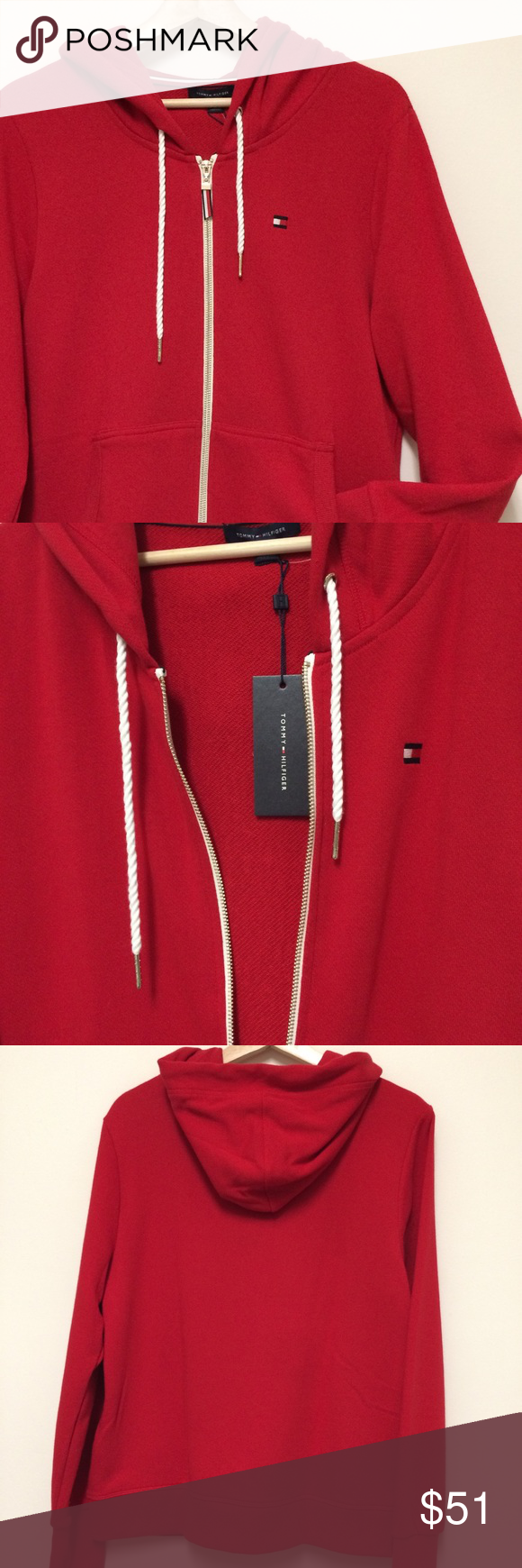 Tommy Hilfiger NWT red zipup hoodie large BRAND NEW! Red