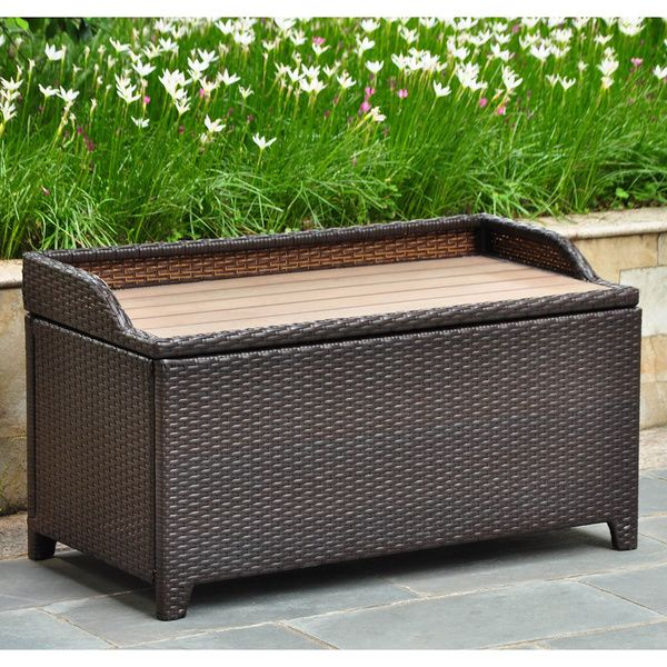 Ordinary Outdoor Resin Storage Bench Part - 2: International Caravan Barcelona Resin Wicker/Aluminum Outdoor Storage Bench
