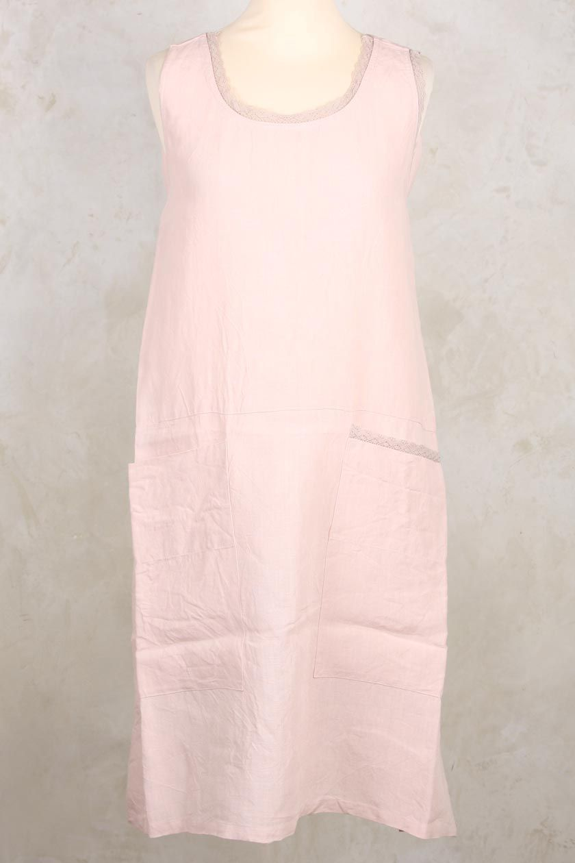 White apron lace trim - Berth Apron Dress With Pockets And Lace Trim In Rose Les Ours
