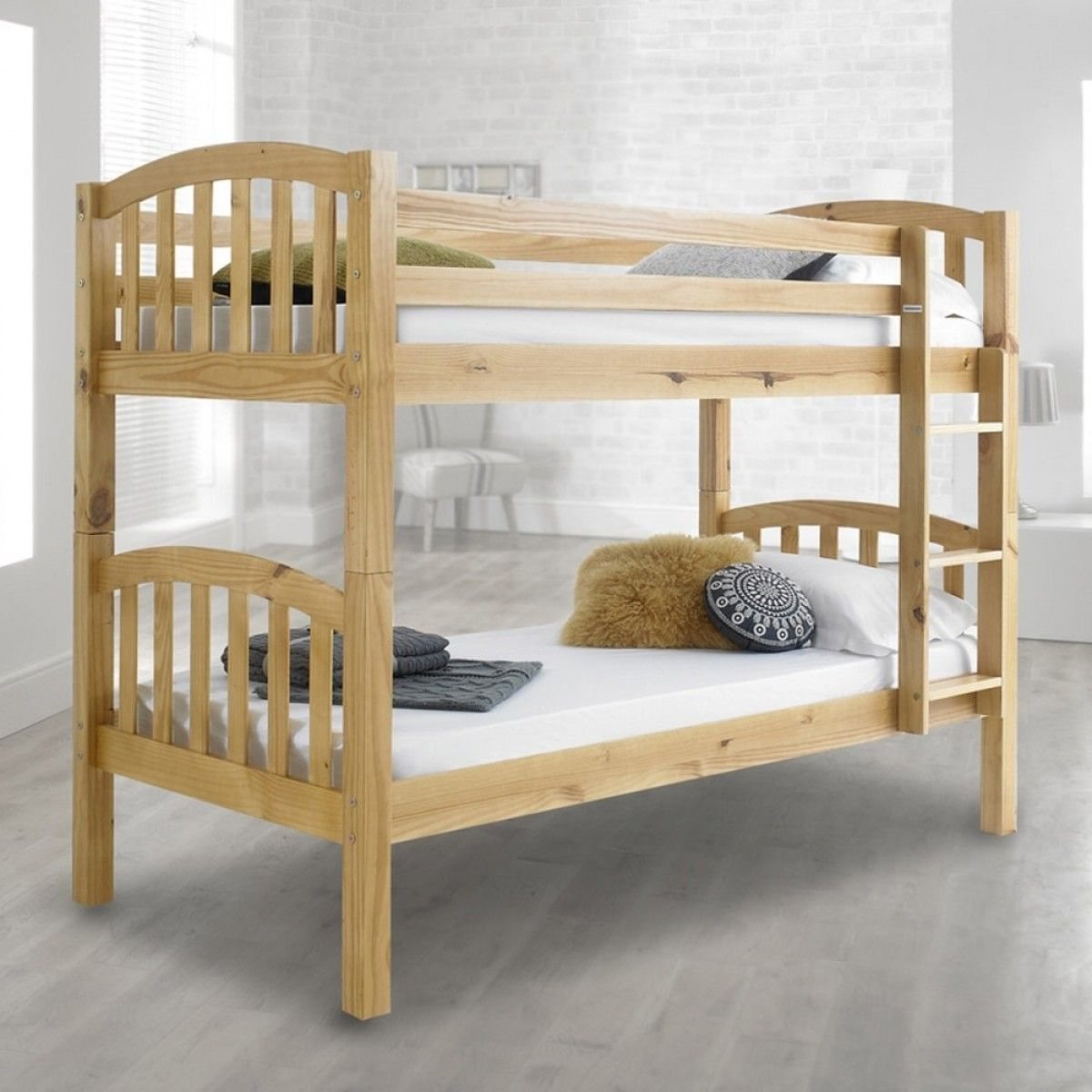 American Solid Honey Pine Wooden Bunk Bed Wooden bunk