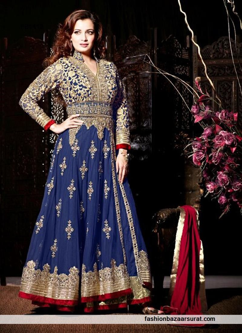Majestic designer royal blue double melo anarkali salu buy indian
