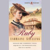 Award-winning author Lauraine Snelling delivers her first installment of the Dakotah Treasures series. Ruby, a Crossings Book Club Main Selection, is the story of a young woman who must leave behind the life she has grown accustomed to in order to start a new life in the bleak Dakota Territory.