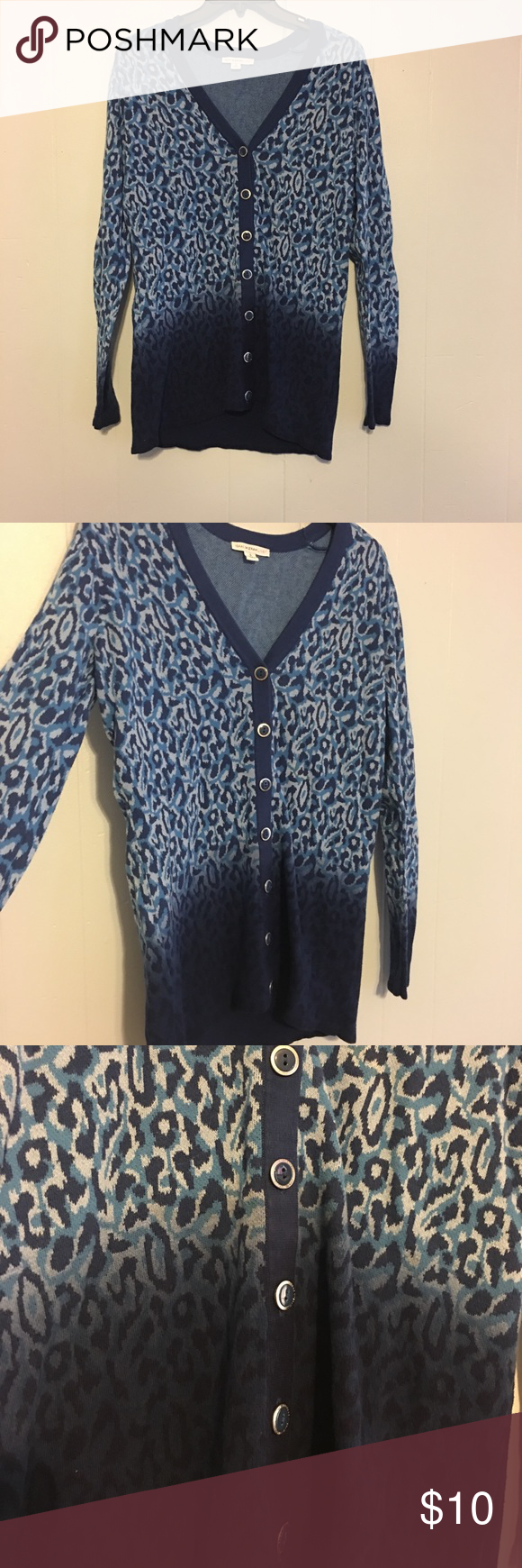 Blue leopard print cardigan | Silver buttons, Leopards and Cotton