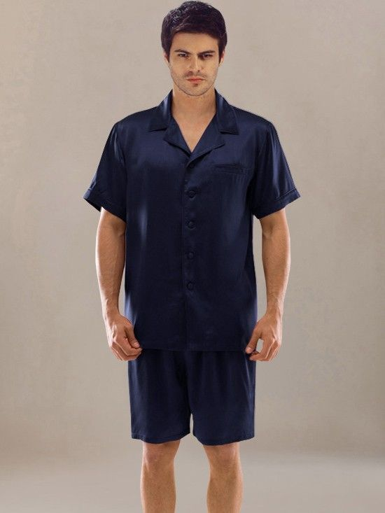 Short Silk Pajama Navy  men  silk  pajamas 717720baa