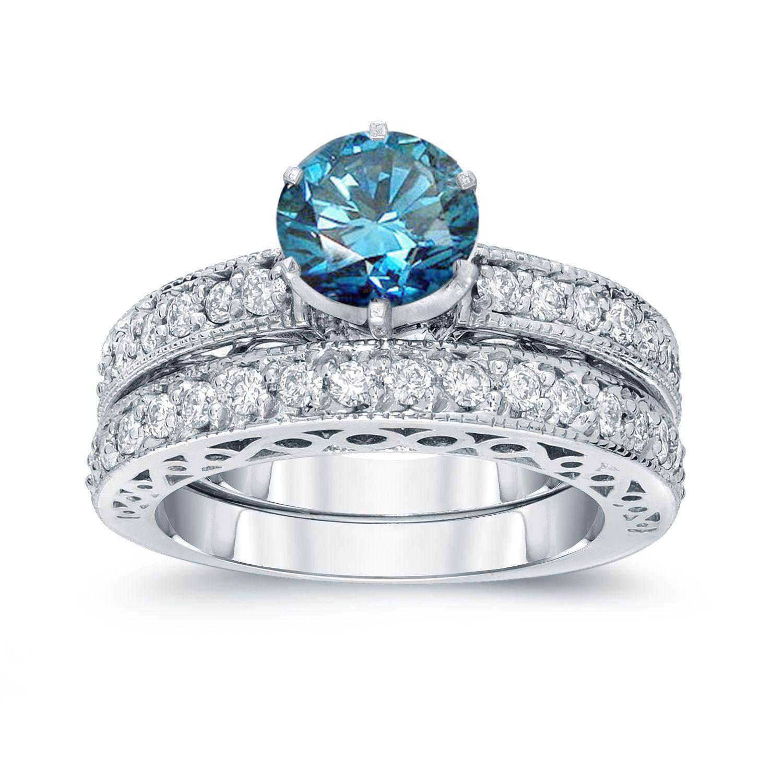 Auriya k white gold ct tdw round blue diamond bridal set