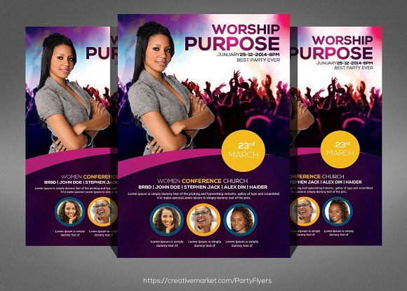 Women Conference Flyer Template by Party Flyers on @creativemarket - conference flyer template