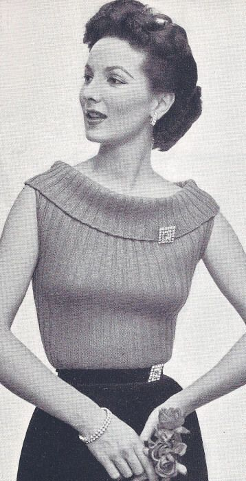 Vintage Knitting PATTERN to make Ribbed Sweater Boat Neck Collar ...
