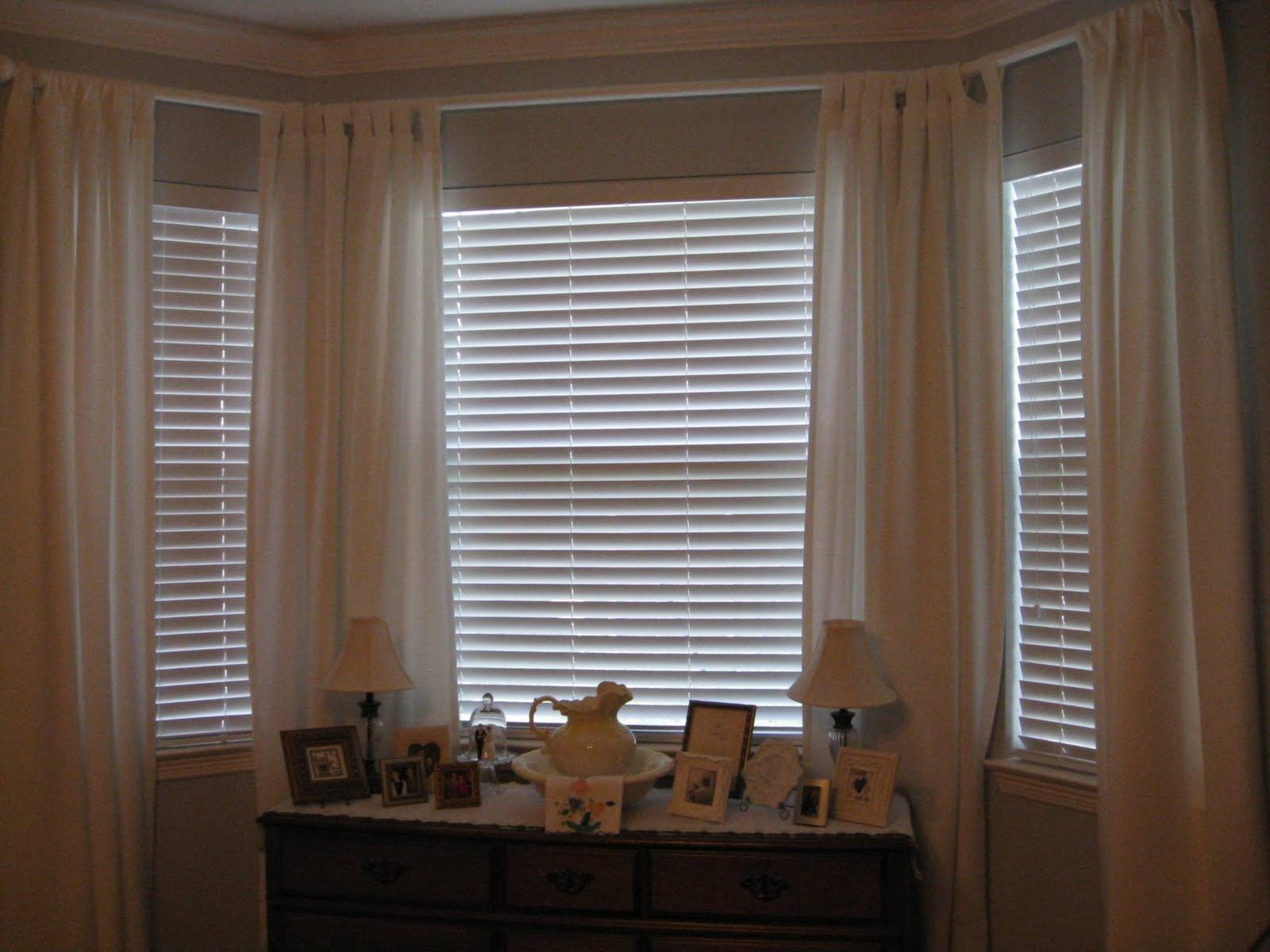 How to dress a bay window google search for the home Window treatments for bay window in living room