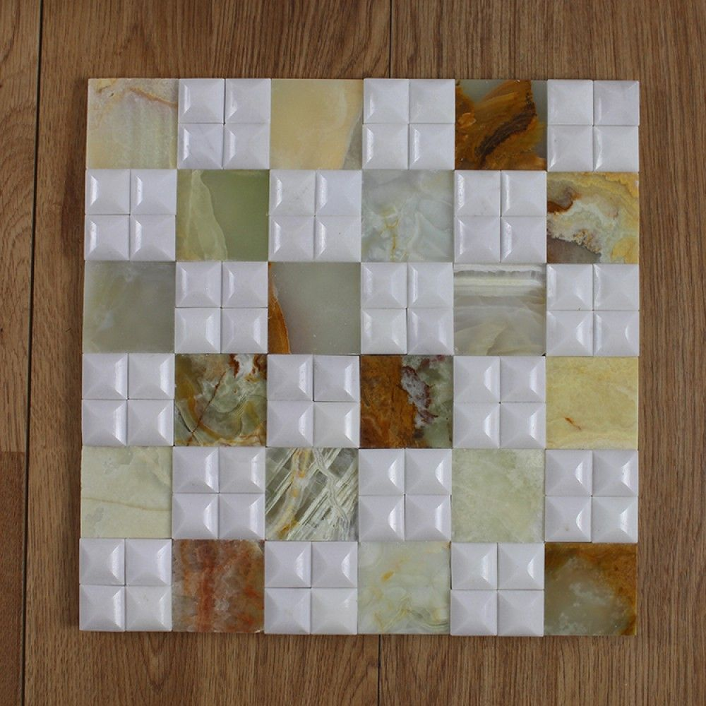 Factory Price Pakistan Onyx Mosaic Tiles White Tile Front