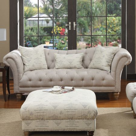 Faye 92 Quot Tufted Sofa In Light Gray Emerald Home Furnishings Living Room Furniture Sofas Furniture