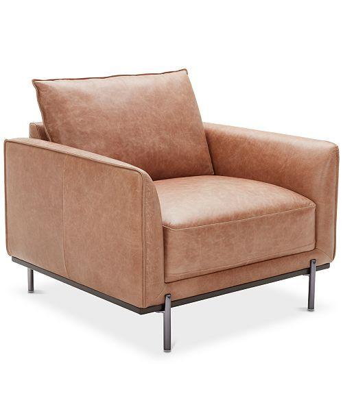 Best Havant 37 Leather Accent Chair Light Brown 400 x 300