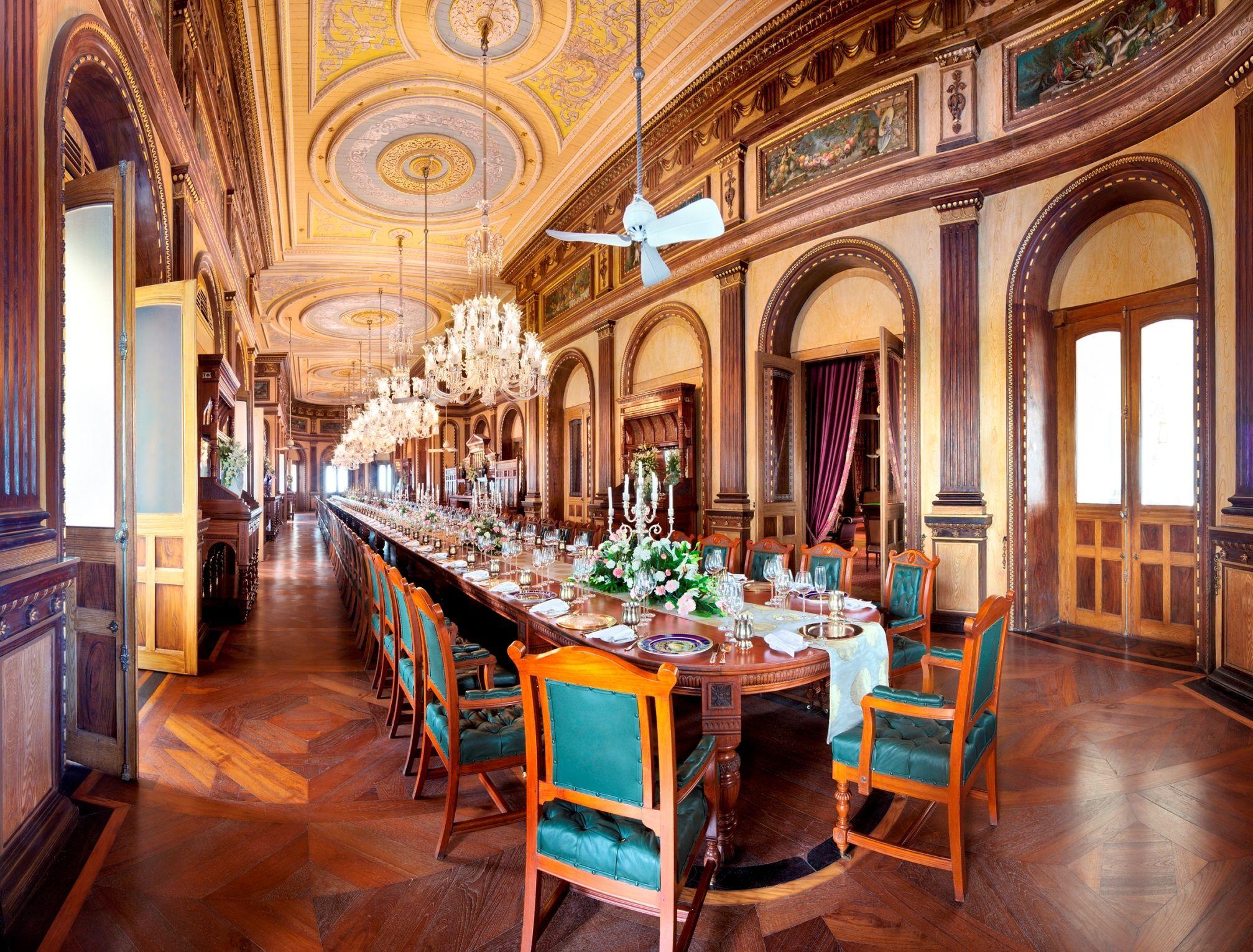 Dining Room At Taj Falaknuma Palace Hyderabad South India