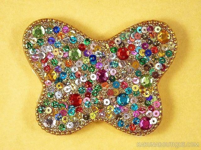 Carnet papillon fantaisie multicolore à paillettes - Artisanat équitable.