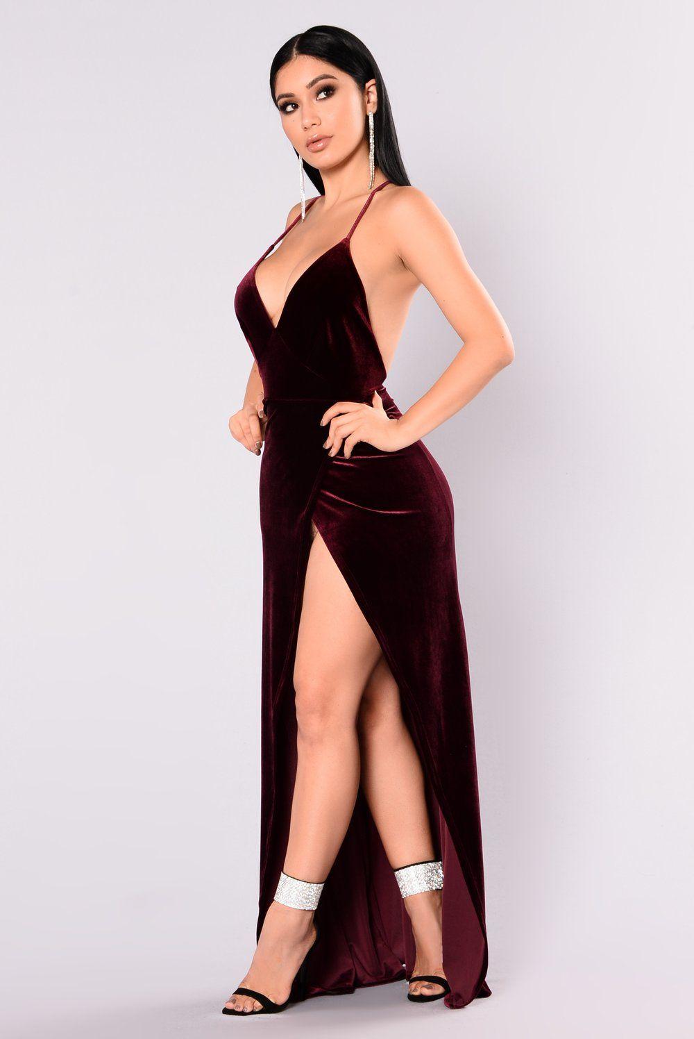 94523a405aa Angelique Velvet Maxi Dress - Dark Burgundy