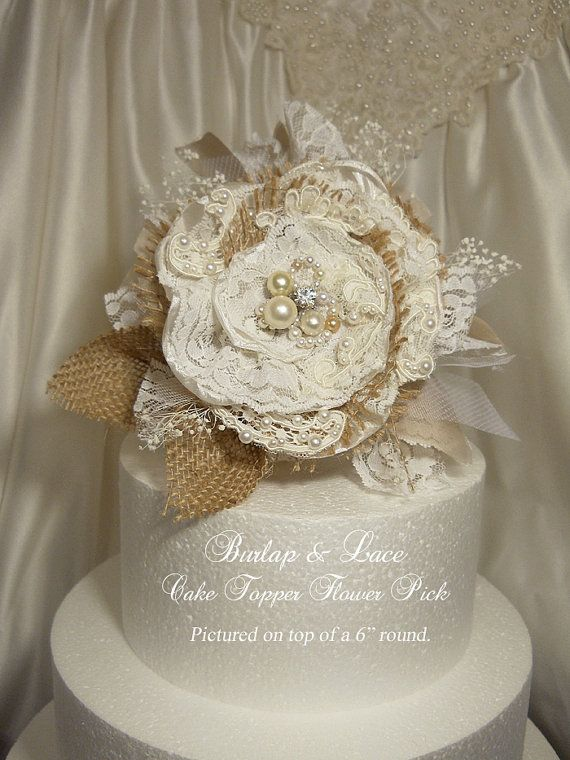 Burlap & Lace Cake Topper Flower Pick by PapernLace, $25.00 #burlap #cake #flower #etsy #caketopper #wedding #bridal