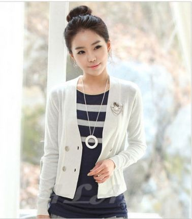 V-Neck Women's Double Breasted Knitting Coat on BuyTrends.com, only price $22.40