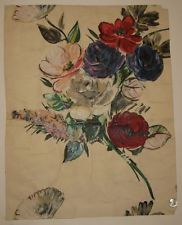 Beautiful Antique 1920's or 30's French Floral Textile Painting (9234)