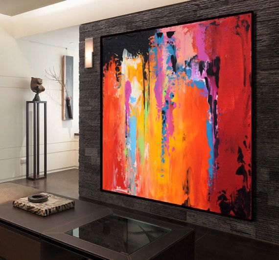 Große abstrakte zeitgenössische Kunst Leinwand Malerei, handgemachte ...