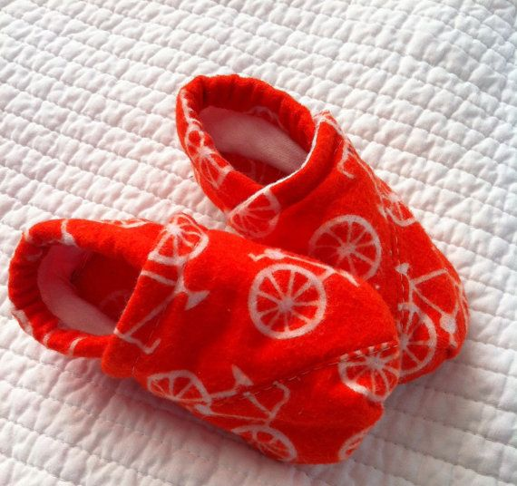Orange bicycle print soft baby shoes by ThePurpleIvy on Etsy, $14.50