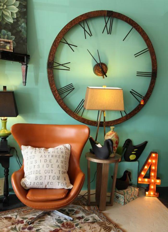 Designer Wanduhren Gemptliches Wohnzimmer Wand Minze Farbe
