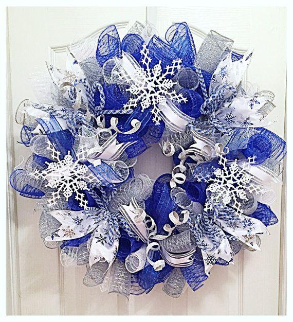 Winter Blue Snowflake Deco Mesh Wreath Blue Snowflake Etsy Deco Mesh Christmas Wreaths Christmas Mesh Wreaths Deco Mesh Wreaths