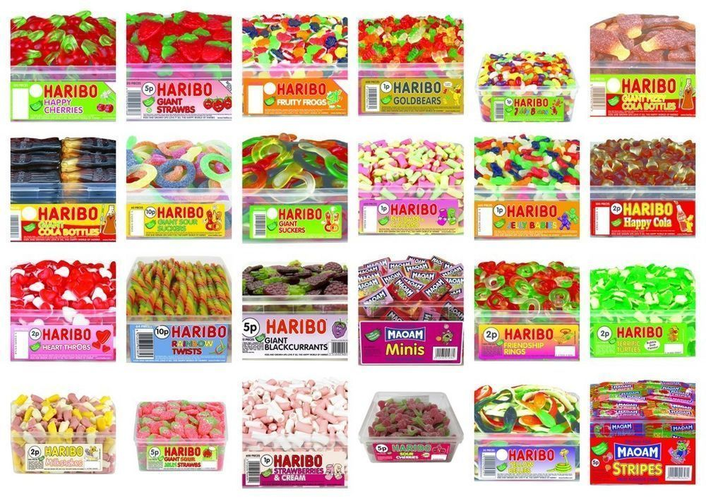 Haribo sweets fully sealed tubs boxes 30 varieties wholesale ...