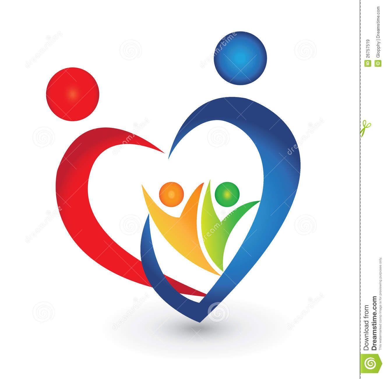 Family Union In A Heart Shape Logo Royalty Free Stock
