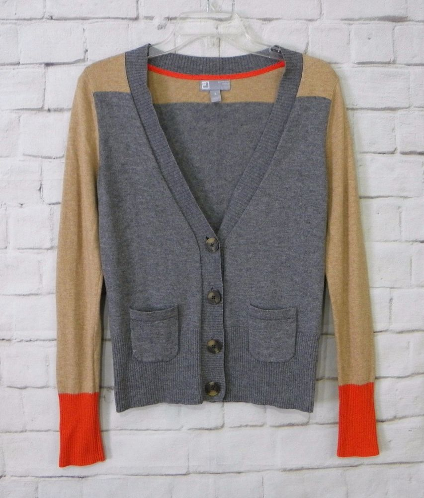 Womens JCP Gray Tan Orange Cashmere Blend Button Front Cardigan ...
