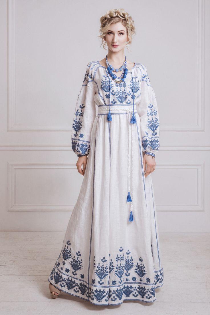 Kleid mit Flachs bestickt #bestickt #flachs #kleid  Kleider