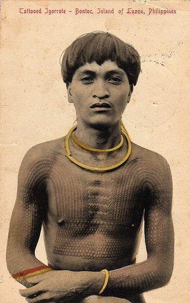 7675e923e 1908 photo of a Filipino Bontoc warrior bearing a Head hunters 'Chaklag'  Tattoo