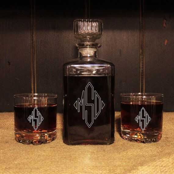 monogrammed glass whiskey decanter set , barware, personalized, Ideas