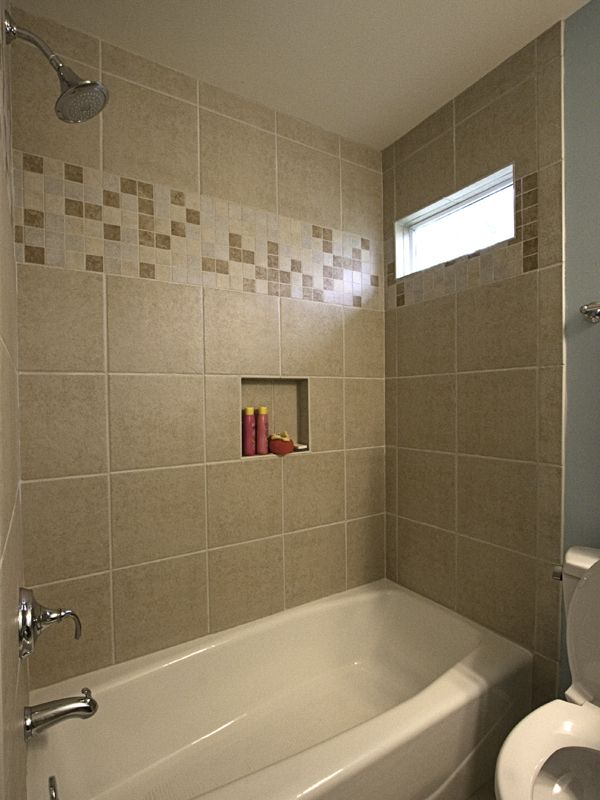Ceramic Tile Tub Surround With Accent Strip Hall Guest Bath