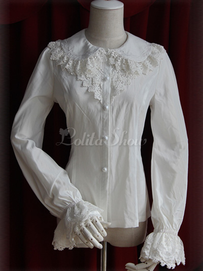 f94b9243b94 White Chiffon Single Breast Long Sleeves Sweet Lolita Blouse - Lolitashow .com