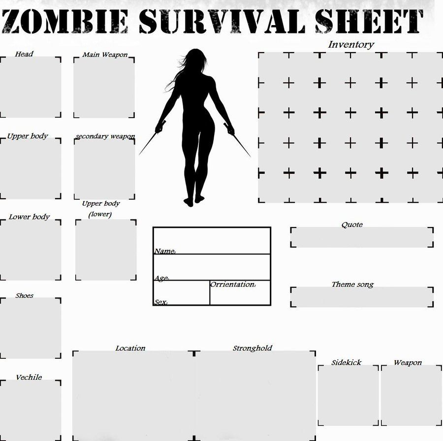 zombie apocalypse survival sheet - Google Search | All ...