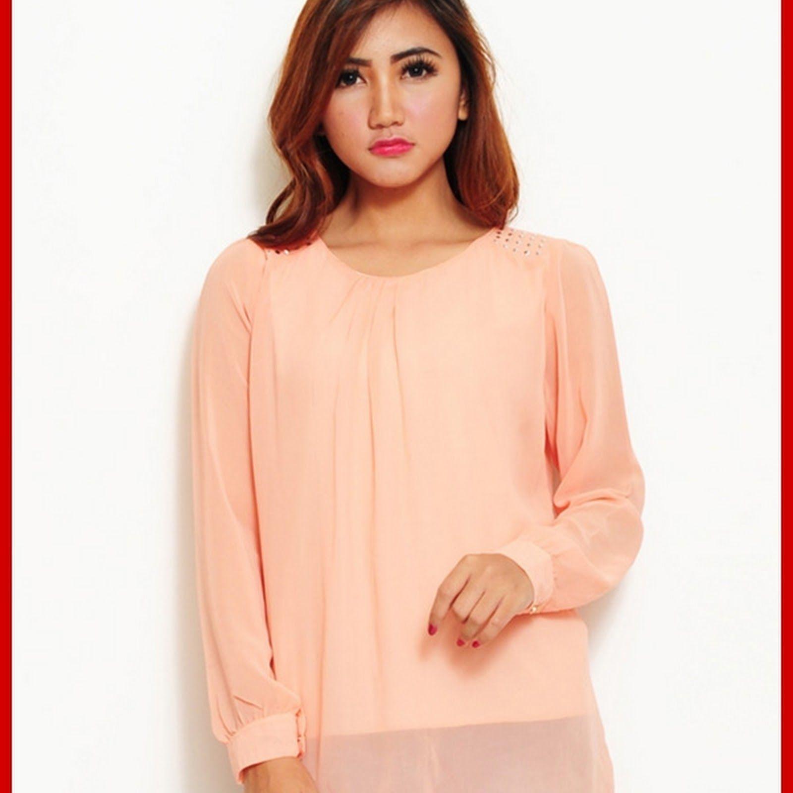 Atasan Wanita Terbaru Model e1ock fashion transparan kaos peach BMGShop