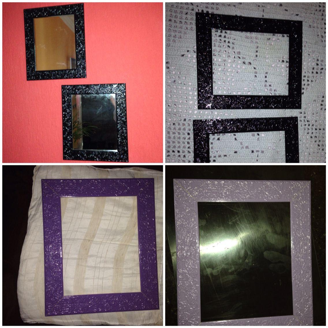 Adorei os espelhos, mas eram de uma cor que não combinava com a minha sala. Nada que uma pinturinha não resolvesse!!!