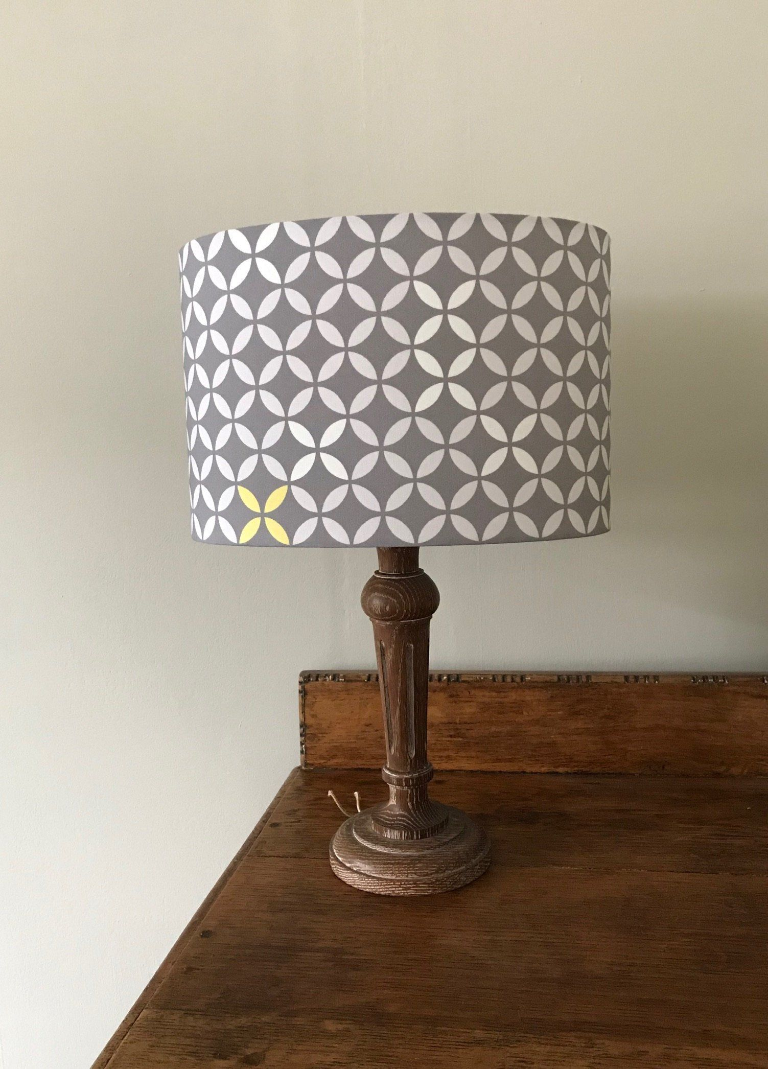 30cm Lampshade Grey White Yellow Geometric Fabric Oval 30cm Scandinavian Style Fabric Geometric Fabric Low Energy Light Bulbs Oval Table