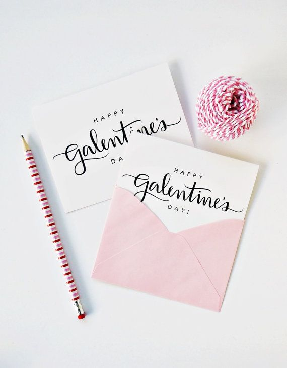 Happy Galentines Day Card Handlettering Script Valentines – Friendship Valentines Day Cards