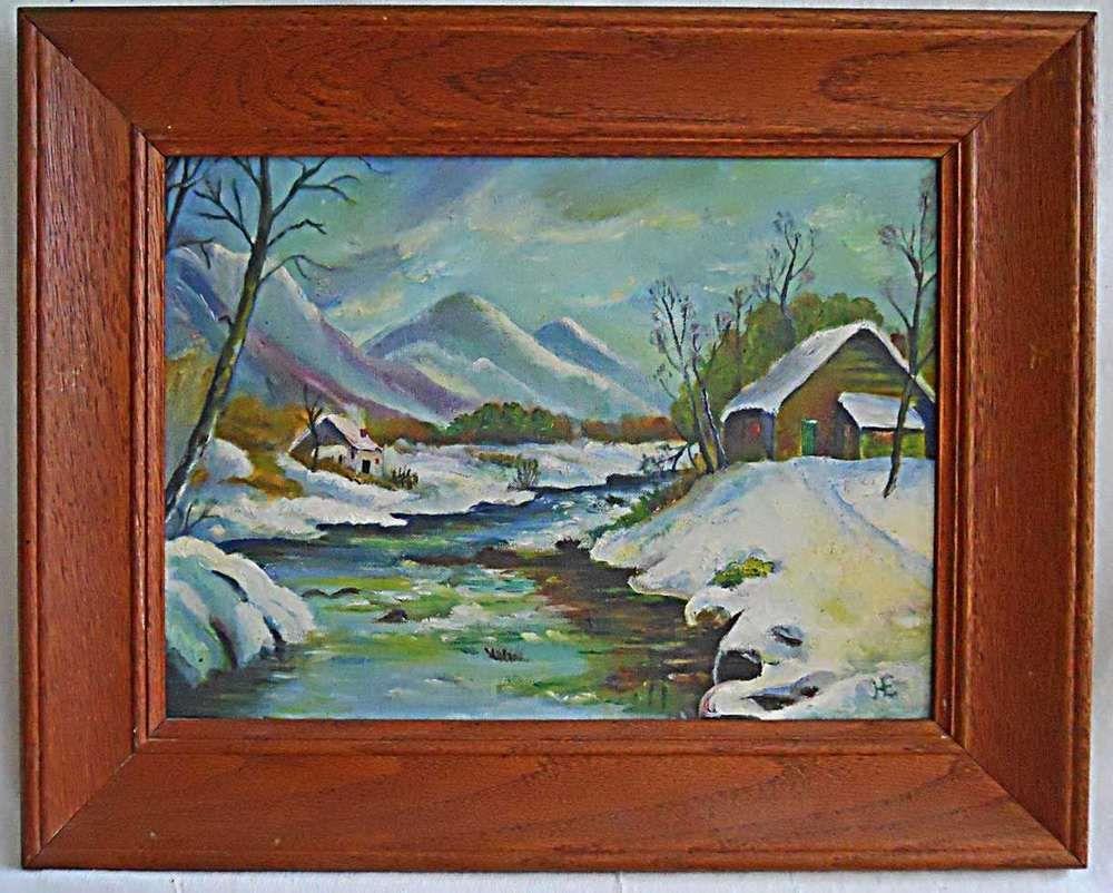 Western Folk Naive Original Vintage Painting Misty Pink