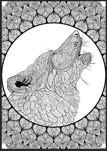 Wolf Mandala Detailed Colouring Page Detailed Coloring Pages