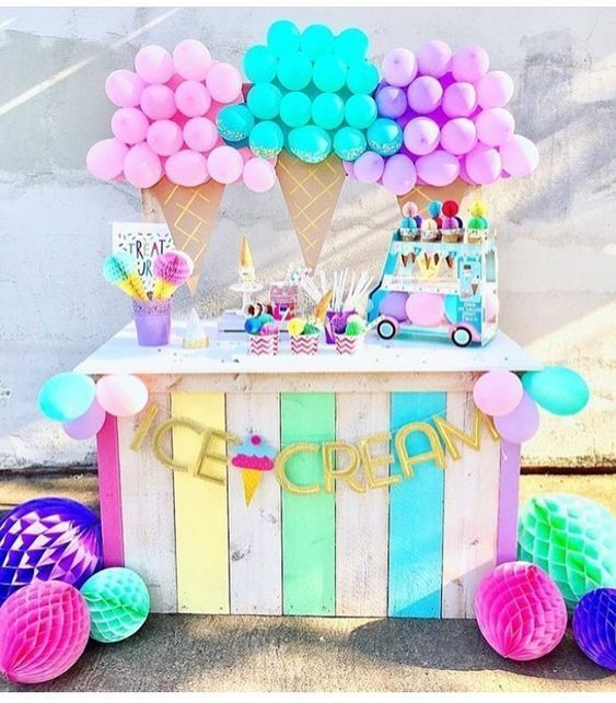30 Cool Birthday Party Decorations Ideas Ice Cream Birthday Party Theme 1st Birthday Parties Birthday Party Decorations