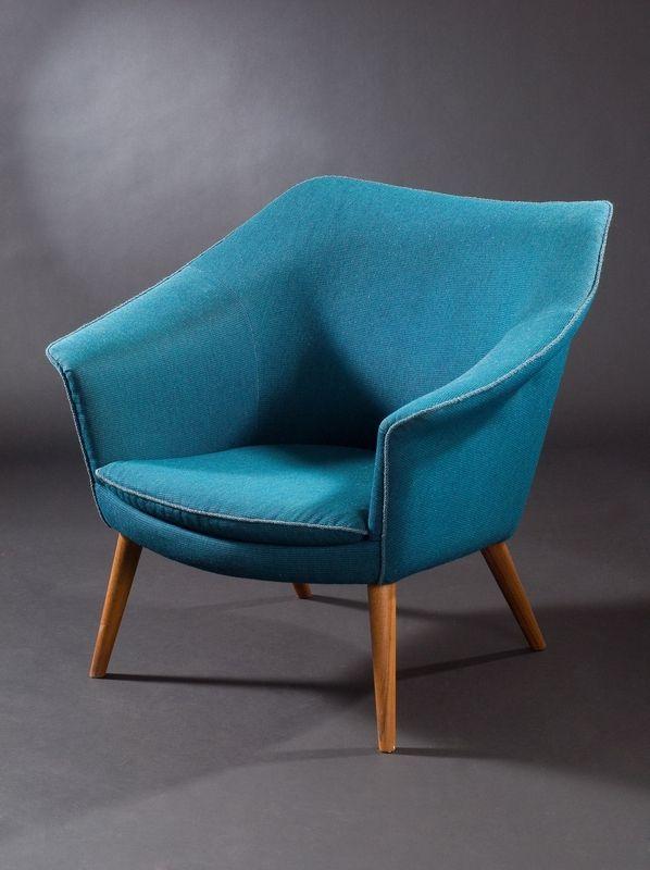Gerhard Berg Teak Armchair C1960 Chaired Turquoise