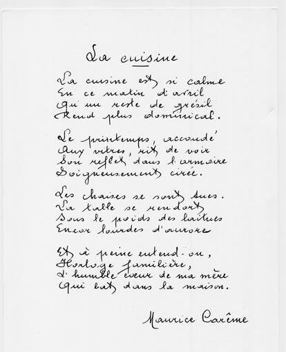 Maurice Carême La Cuisine Maurice Careme Poeme Poeme Et